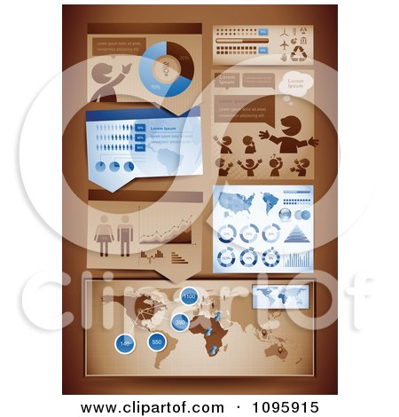 Clipart Blue And Brown Statistics And Informational Graphics - Royalty Free Vector Illustration by TA Images