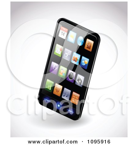 Clipart 3d Black Smartphone With Colorful App Icons On The Display - Royalty Free Vector Illustration by TA Images