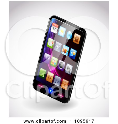Clipart 3d Smartphone With Colorful App Icons On The Display - Royalty Free Vector Illustration by TA Images