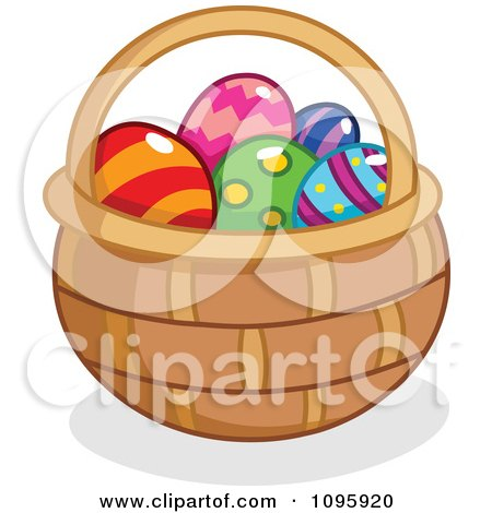 Clipart Basket Filled With Colorful Easter Eggs - Royalty Free Vector Illustration by yayayoyo