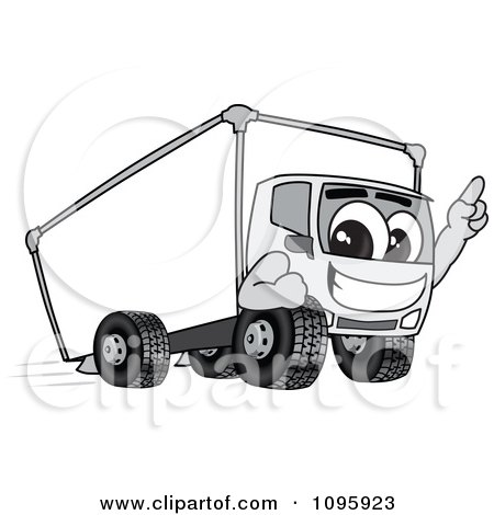Clipart Delivery Big Rig Truck Mascot Character Pointing Upwards - Royalty Free Vector Illustration by Toons4Biz