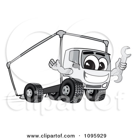 Clipart Delivery Big Rig Truck Mascot Character Holding A Wrench - Royalty Free Vector Illustration by Toons4Biz