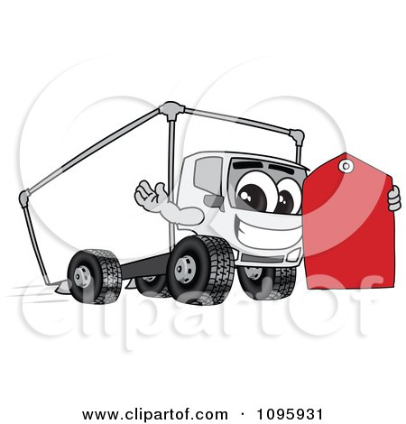 Clipart Delivery Big Rig Truck Mascot Character Holding A Price Tag - Royalty Free Vector Illustration by Toons4Biz