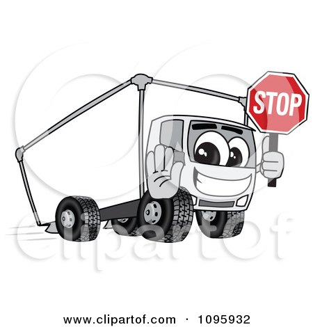 Clipart Delivery Big Rig Truck Mascot Character Holding A Stop Sign - Royalty Free Vector Illustration by Toons4Biz