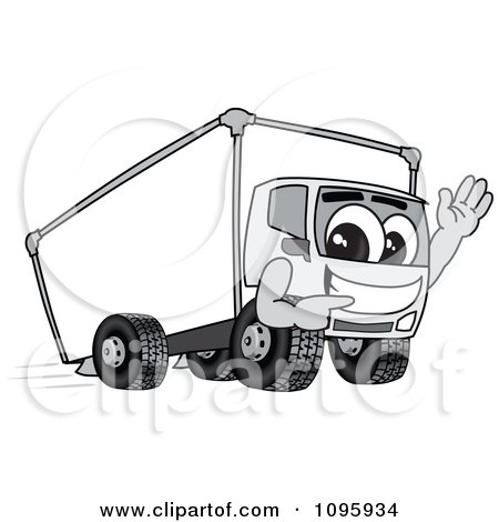 Clipart Delivery Big Rig Truck Mascot Character Waving And Pointing - Royalty Free Vector Illustration by Toons4Biz