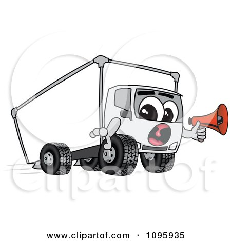 Clipart Delivery Big Rig Truck Mascot Character Holding A Megaphone - Royalty Free Vector Illustration by Toons4Biz