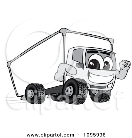 Clipart Delivery Big Rig Truck Mascot Character Running - Royalty Free Vector Illustration by Toons4Biz