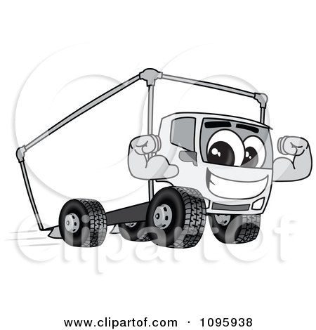 Clipart Delivery Big Rig Truck Mascot Character Flexing - Royalty Free Vector Illustration by Toons4Biz