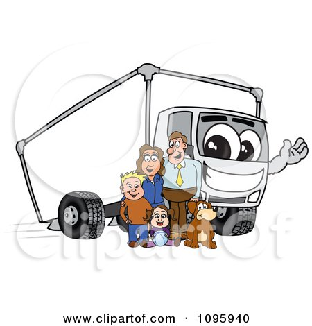 Clipart Family Standing By A Waving Delivery Big Rig Truck Mascot Character - Royalty Free Vector Illustration by Toons4Biz