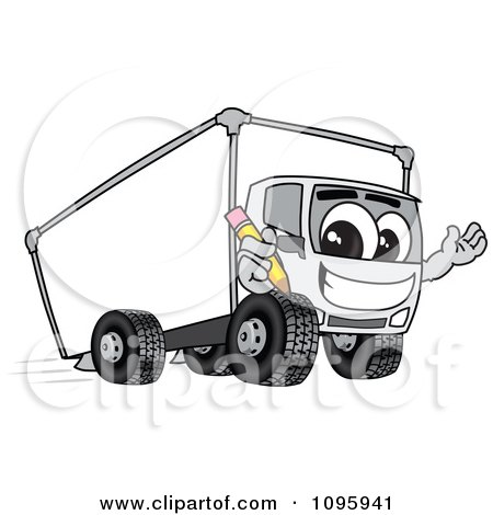 Clipart Delivery Big Rig Truck Mascot Character Holding A Pencil - Royalty Free Vector Illustration by Toons4Biz