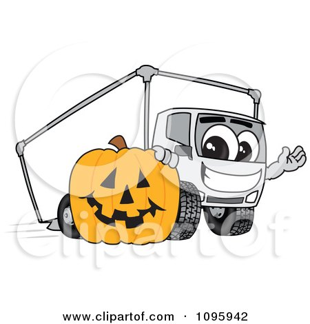 Clipart Delivery Big Rig Truck Mascot Character With A Halloween Pumpkin - Royalty Free Vector Illustration by Toons4Biz