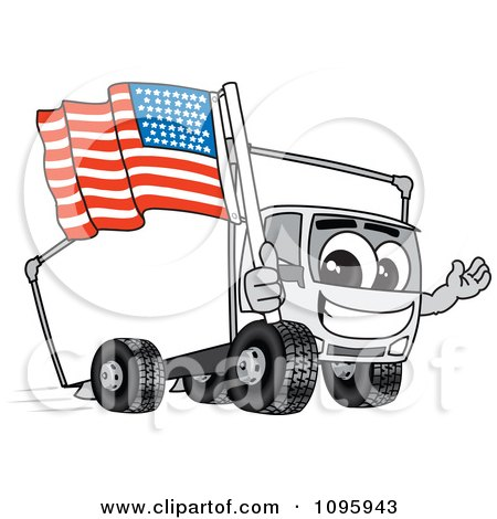 Clipart Delivery Big Rig Truck Mascot Character Holding An American Flag - Royalty Free Vector Illustration by Toons4Biz