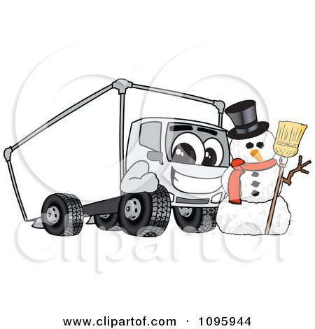 Clipart Delivery Big Rig Truck Mascot Character With A Snowman - Royalty Free Vector Illustration by Toons4Biz