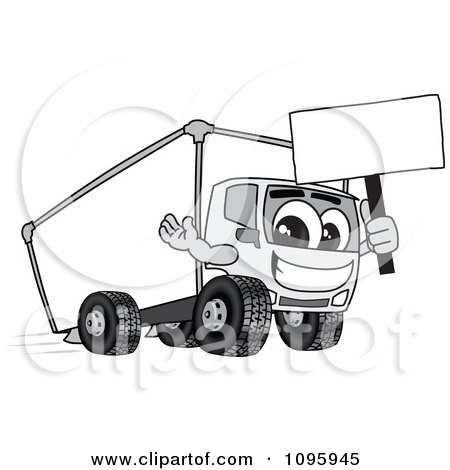 Clipart Delivery Big Rig Truck Mascot Character Holding A Sign - Royalty Free Vector Illustration by Toons4Biz