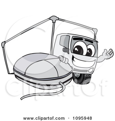 Clipart Delivery Big Rig Truck Mascot Character With A Computer Mouse - Royalty Free Vector Illustration by Toons4Biz