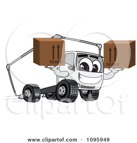 Clipart Delivery Big Rig Truck Mascot Character Holding Boxes - Royalty Free Vector Illustration by Toons4Biz