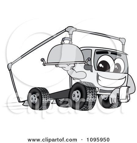 Clipart Delivery Big Rig Truck Mascot Character Holding A Platter - Royalty Free Vector Illustration by Toons4Biz
