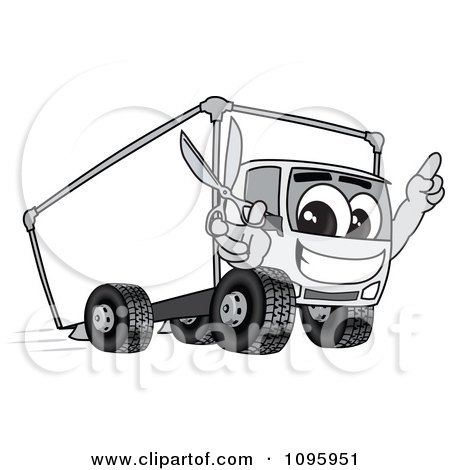 Clipart Delivery Big Rig Truck Mascot Character Holding Scissors - Royalty Free Vector Illustration by Toons4Biz