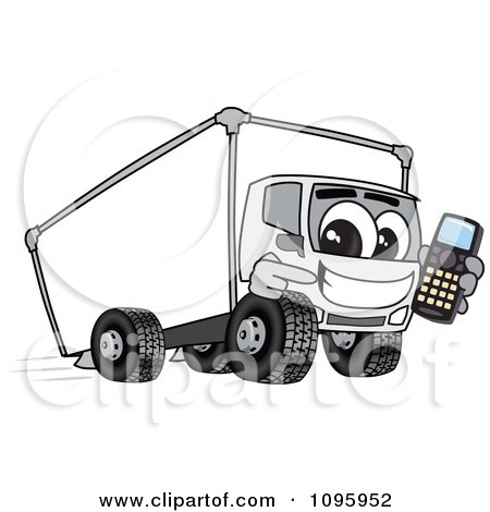 Clipart Delivery Big Rig Truck Mascot Character Holding A Cell Phone - Royalty Free Vector Illustration by Toons4Biz