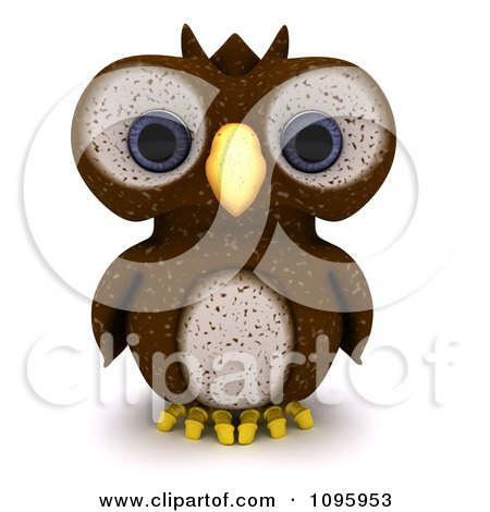 Clipart 3d Brown Owl - Royalty Free CGI Illustration by KJ Pargeter
