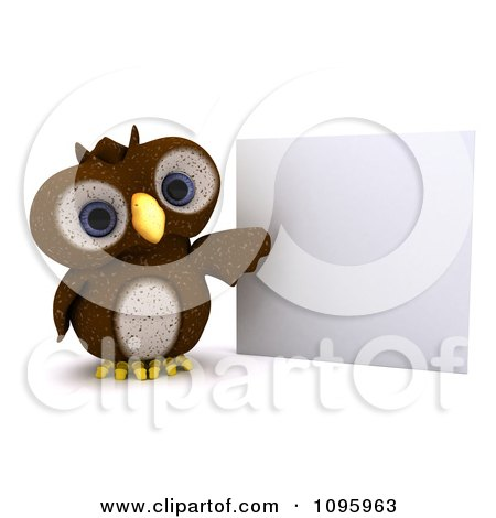 Clipart 3d Brown Owl Presenting A Sign - Royalty Free CGI Illustration by KJ Pargeter