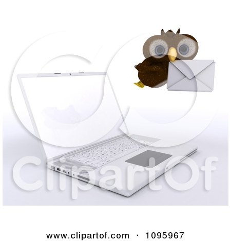 Clipart 3d Brown Owl Delivering Email By A Laptop - Royalty Free CGI Illustration by KJ Pargeter