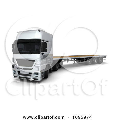 Clipart 3d Silver Lorry Big Rig Logistics Truck With A Flat Bed 1 - Royalty Free CGI Illustration by KJ Pargeter