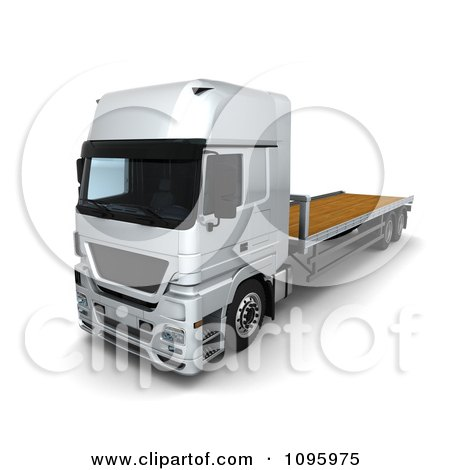 Clipart 3d Silver Lorry Big Rig Logistics Truck With A Flat Bed 2 - Royalty Free CGI Illustration by KJ Pargeter