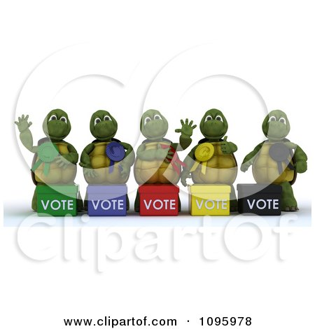 Clipart 3d Tortoise Politicians With Voting Ballot Boxes - Royalty Free CGI Illustration by KJ Pargeter