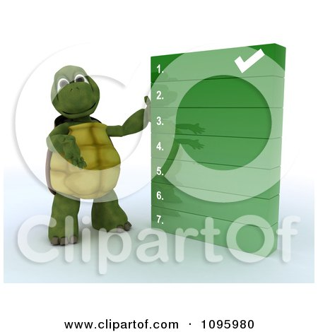 Clipart 3d Tortoise Presenting A To Do Check List - Royalty Free CGI Illustration by KJ Pargeter