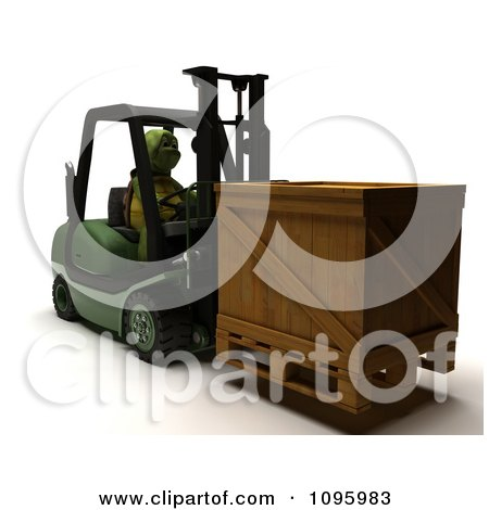 Clipart 3d Tortoise Moving A Crate On A Forklift - Royalty Free CGI Illustration by KJ Pargeter