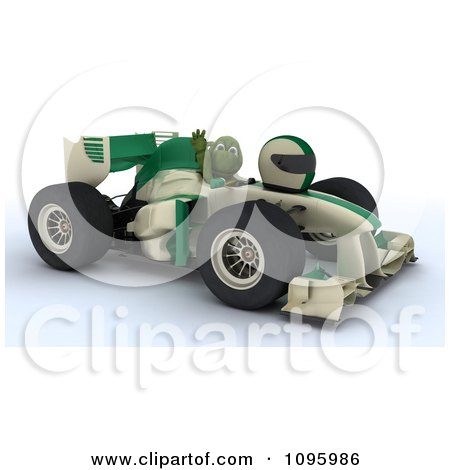 Clipart 3d Tortoise Waving From A Formula 1 Race Car - Royalty Free CGI Illustration by KJ Pargeter