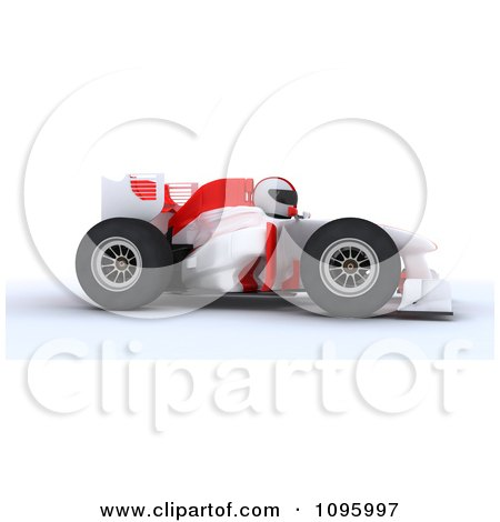 Clipart 3d White Character Driving A Formula 1 Race Car - Royalty Free CGI Illustration by KJ Pargeter