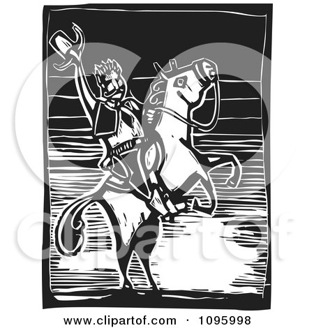 Clipart Friendly Wild West Cowboy Holding Up His Hat On His Rearing Horse Black And White Woodcut - Royalty Free Vector Illustration by xunantunich