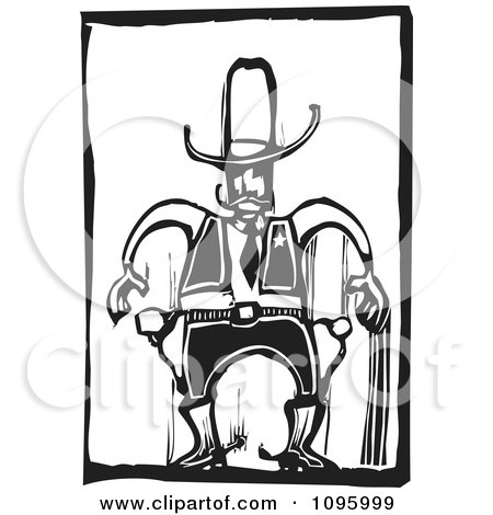 Clipart Wild West Cowboy Sherrif Ready To Draw His Guns Black And White Woodcut - Royalty Free Vector Illustration by xunantunich