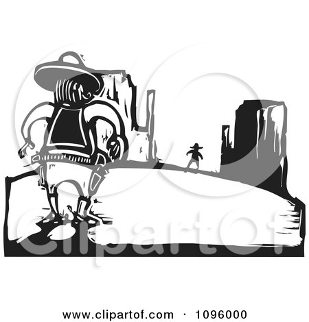 Clipart Wild West Cowboy Sherrif Ready To Duel In The Desert Black And White Woodcut - Royalty Free Vector Illustration by xunantunich