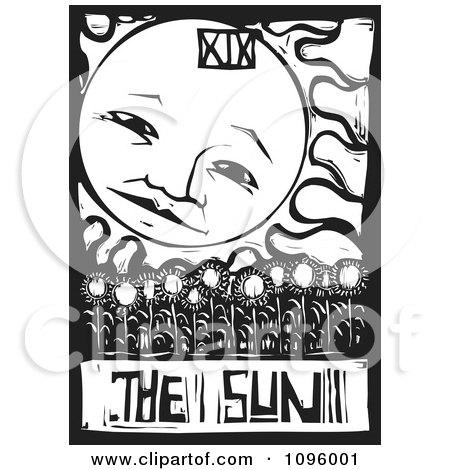 Clipart Sunflower Field And Sun Tarot Card Black And White Woodcut - Royalty Free Vector Illustration by xunantunich