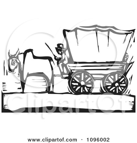 Clipart Pioneer And Ox With A Covered Wagon On The Oregon Trail Black And White Woodcut - Royalty Free Vector Illustration by xunantunich