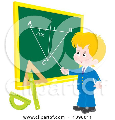 Clipart Blond School Boy Discussing A Geometry Diagram On A Chalk Board - Royalty Free Vector Illustration by Alex Bannykh