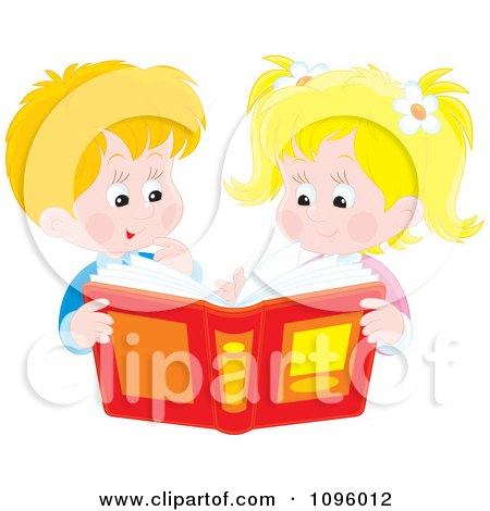 Clipart Happy Brother And Sister Looking Through A Story Book Or Photo Album - Royalty Free Vector Illustration by Alex Bannykh