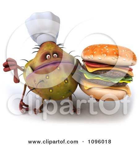 3d Thumb Down Chef Monster Germ Holding A Cheeseburger Posters, Art Prints