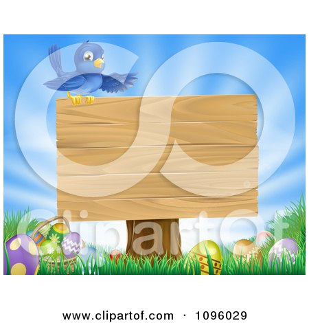 Clipart Blue Bird On Top Of A Blank Sign Over Easter Eggs In Grass Over A Blue Sky - Royalty Free Vector Illustration by AtStockIllustration