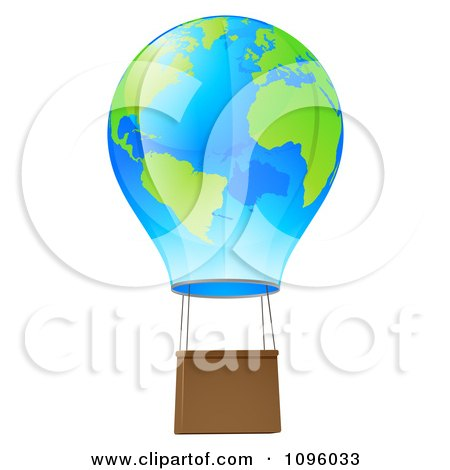 Clipart 3d Blue And Green Globe Hot Air Balloon - Royalty Free Vector Illustration by AtStockIllustration