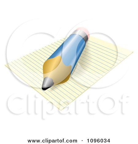 Clipart 3d Blue Pencil Resting On Ruled Paper - Royalty Free Vector Illustration by AtStockIllustration