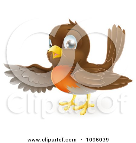 Clipart Friendly Robin Bird Presenting Or Pointing With His Wing - Royalty Free Vector Illustration by AtStockIllustration