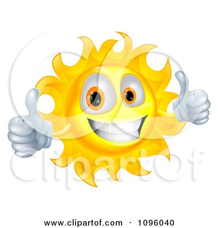 Happy Sun Character Smiling And Holding Two Thumbs Up Posters, Art Prints