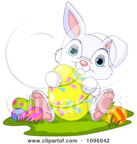 Clipart Cute Bunny Sitting And Holding A Yellow Easter Egg - Royalty Free Vector Illustration by Pushkin