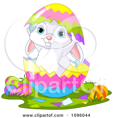 Clipart Cute Easter Bunny Standing Inside A Split Egg Shell - Royalty Free Vector Illustration by Pushkin