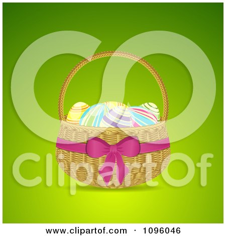 Clipart 3d Easter Egg Basket With A Pink Bow And Ribbon - Royalty Free Vector Illustration by elaineitalia