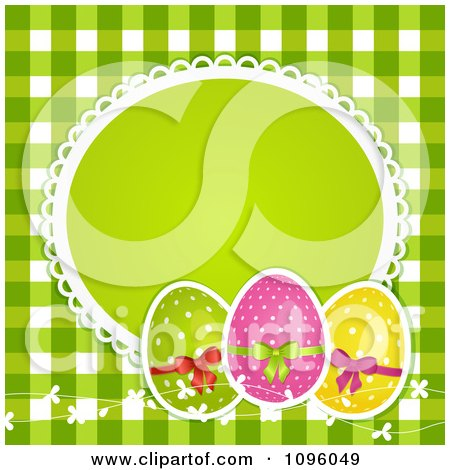 Clipart 3d Polka Dot Easter Eggs With A Blank Frame Over Green Gingham - Royalty Free Vector Illustration by elaineitalia